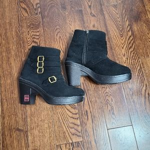 NWOT SLine faux suede booties with gold buckles
